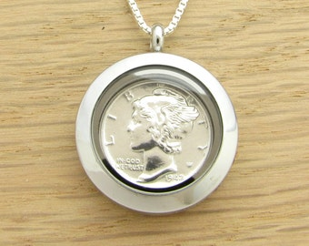 For 75th: 1942 US Dime Locket Necklace 75th Birthday Gift Coin Jewelry