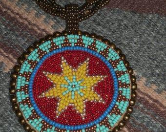 "Native American 2 1/2"" Hand Beaded Blue Bronze Red Rosette Medallion 16"" Multi Strand Necklace"