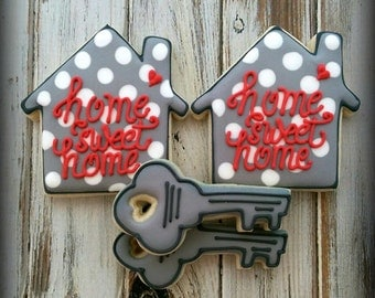 Home Sweet Home Decorated Cookies, House Warming Decorated Cookies, New Home Cookies, Relocation Decorated Cookies, Realtor Decorated Cookie