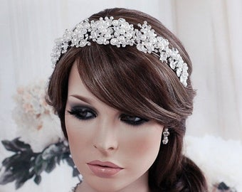 Wedding Headband Crystal White Pearl Bridal Headpiece Hair Accessories Accessory Weddings Beaded Tiara Head Band Piece Prom Jewelry Wreath