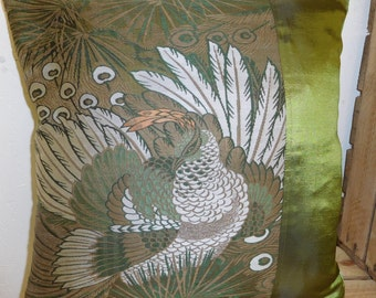 1940 Vintage Obi Cushion - Green Pheasant
