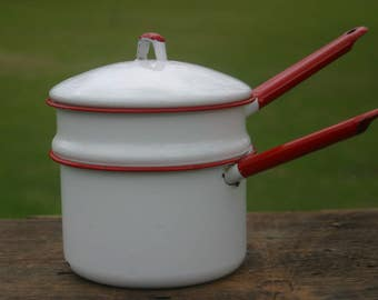 Red and White Enamelware, Double Boiler, Vintage Enamelware, Camping Gear, Pots and Pans, Saucepan, Vintage Home Decor, Rustic Home, Cooking