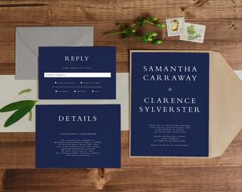 DIY Printable Rustic Minimal Serif Wedding Invitation | Save the Date | RSVP | Details  | Navy Blue | Custom | Invite Set