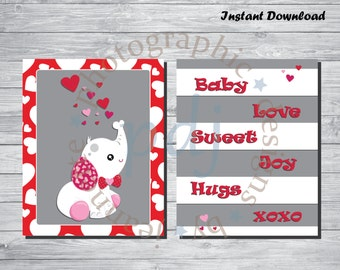 Instant Download-Valentine's Day/Love/Baby Nursery Prints! Perfect for baby's room/babyshower/gifts!