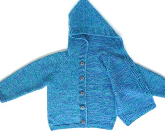 Wool cardigan, baby boy clothes, knit baby sweater jacket, hand knitted baby clothes, boy baby hoodie, blue -green jumper size 18 - 24 month