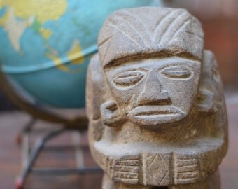 Vintage Mexican Pre-Columbian Volcanic Rock Carved Sculpture