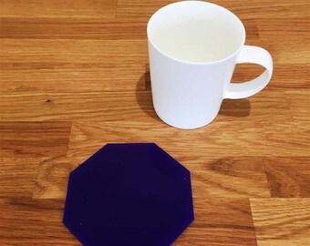 Octagon Shaped Purple Gloss Finish Acrylic Coasters