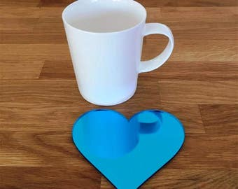 Heart Shaped Blue Mirror Gloss Finish Acrylic Coasters