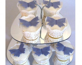 Pebble Shaped Two Tier Silver Rod Acrylic Cup Cake / High Tea Cake Stand - In Various Sizes and Colours