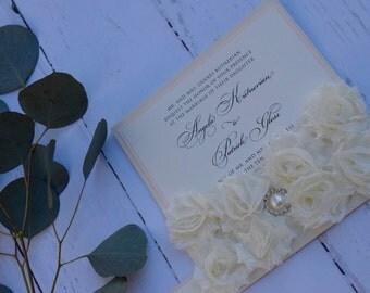 Shabby Chic Floral Pocket Invitation - Brooch Wedding Invitations - Couture Invites - Custom Invitations - Classy Wedding Invitation