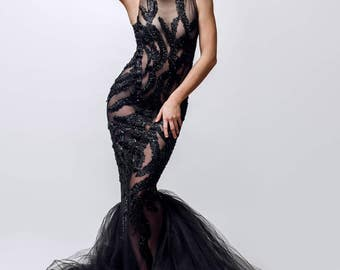 Black beaded gown, black formal gown, beaded dress