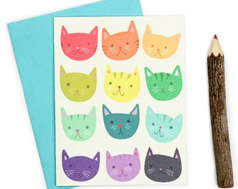 Rainbow Cats Cute Note Card - Kawaii Friendship Card - Friendship Cat Card
