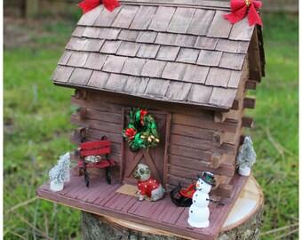 Log cabin/bird house/Miniature house. Winter decorations ornamets. Holiday log cabin -  holiday decor.  Diorama miniature bird house.