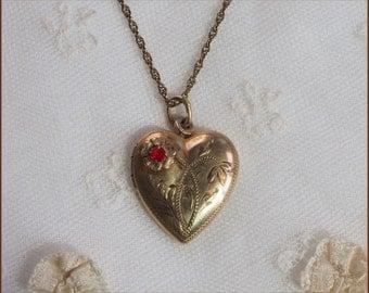 Vintage Gold Filled Heart Locket Necklace - Engraved Design - Red Crystal Rhinestone Pendant +