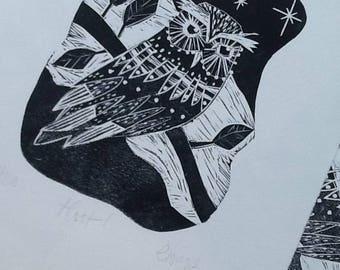 Hoot! Owl Limited Edition Lino Print