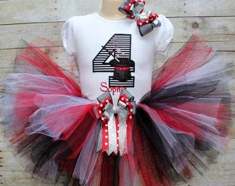 Magic Hat Birthday tutu outfit, Girls Magician Birthday tutu dress, black & red Birthday tutu set, magician tutu dress