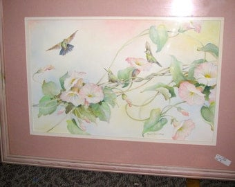 Beautiful Vintage Signed Watercolor Painting Morning Glorys and Humming Birds Artist Morrill Turner Hutchinson