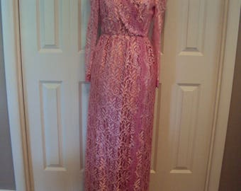 1980s Womens Dusty Rose Pink/ Mauve Pink Satin & Lace Special Occasion Formal Dress/Mother Of Bride Lace Dress/ Size 8-10/Long Dress/ Bridal