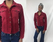 CORDUROY JACKET 90s Red Long Sleeve Collared Button Up Petite Fitted Jacket Breast Pocket 1990s Retro Hipster Petite Small S