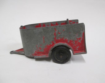 Vintage Tootsietoy Horse Trailer, Red Diecast Metal Farm Ranch Toy Wagon P10300