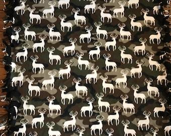 Deer Fleece Tie Blanket
