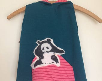 Hand-screened panda hoodie 3-6 years