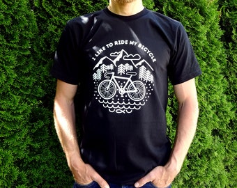 Men's bicycle t shirt, mens graphic tee, gift for man, Black organic cotton t shirt, cyclist t shirt, mountains t shirt, camping t shirt