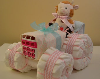 Baby Diaper Tractor Unique Baby Shower Centerpiece Made For Girl, Boy, or Gender Neutral.  4 Wheel Tractor Assembled as One Piece