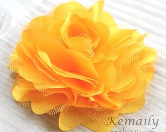 Yellow Satin and Tulle Mesh Puff Flower, Fabric Flower, Craft Supplies, DIY Flower, DIY supplies, Embellishment