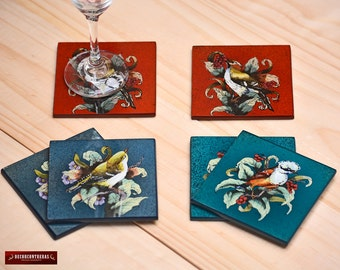 Handmade Glass Coaster Set 6 from Peru - Peruvian Glass Coasters, Framed in wood - Birds design - Coaster for drinking - Glass Tableware