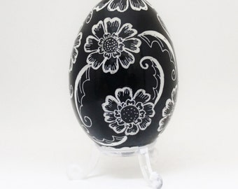Pysanky, Black and White Flowers on Black, Ukrainian Egg Art, Batik
