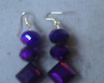 Purple Fire-polished beaded Earrings Style #2