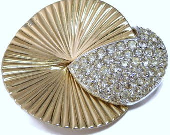 Rhinestone Brooch Swirl Fan Pin Dynasty