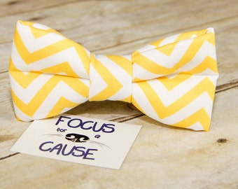 Chevron Dog Bow Tie, Yellow Chevron Bow Tie, Collar Accessory, Pet Bow Tie by Focus for a Cause