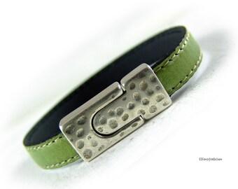 Armband grün silber - Leder Armband - Geschenk für Sie Ehefrau Freundin Schwester Greenery Valentinstag