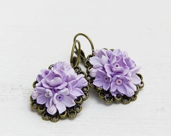 Christmas gift Earrings - Lavender ,lilac, Jewelry,  Gift, vintage accessories earrings with flowers,purple earrings, ornament for the ears