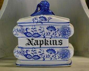 Delft style ceramic napkin holder