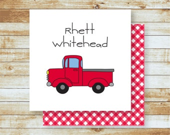 Personalized Calling Cards / Gift Tags / Kids / Red Truck