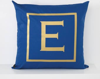 OVERSTOCK INVENTORY SALE! Royal Blue Monogram Throw Pillow Cover