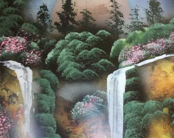 Spray Paint Art Cliff Landscape Waterfalls Pine Trees