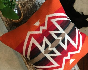 Native Print Pillow cover in Pendleton wool Wool, Rustic Pillow Cover, Orange Pillow, Tribal Pillow in Pendleton Wool, Wool Throw Pillow