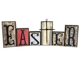 EASTER Home Decor Block Set with Cross -- EASTER Season -- Wood Blocks -- Spring Rustic Colors