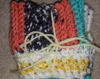 Boot Cuffs-- Southwest colors Crocheted Boot Cuffs, Short Leg Warmers, Boot Toppers,