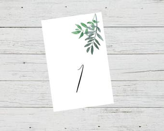 Printable Table Number Cards - Greenery Ferns Foliage Wedding Table Numbers Printable - Number 1 to 20