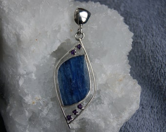 Blue kyanite purple amethyst pendent hand crafted
