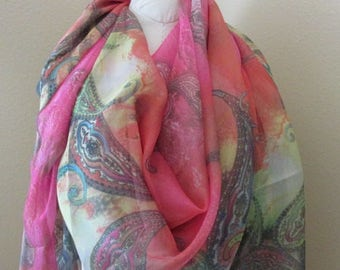 Very Large Silk Scarf, Shawl, love gift