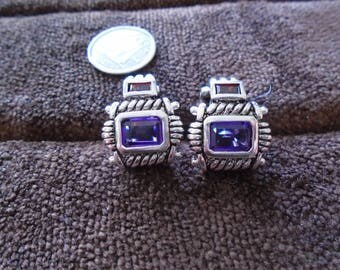 Garnet & Amethyst Cable 8.9g Sterling Silver French Clip Earrings