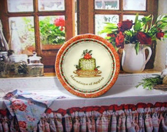 Macedoine of Apples Miniature Plate for Dollhouse 1:12 scale