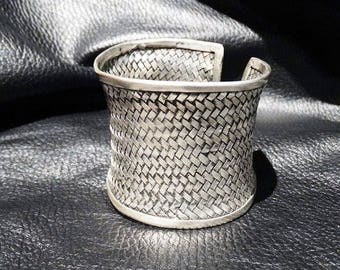 Woven Sterling Cuff Bracelet, Handmade, Vintage, 43.6 Grams