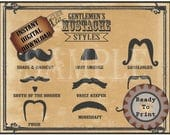 Old Mustache Styles Printable 11x14 Aged Barber Shop Steampunk Victorian Gentlemen Sign Mustache Names Gunslinger Strong Man Vault Keeper